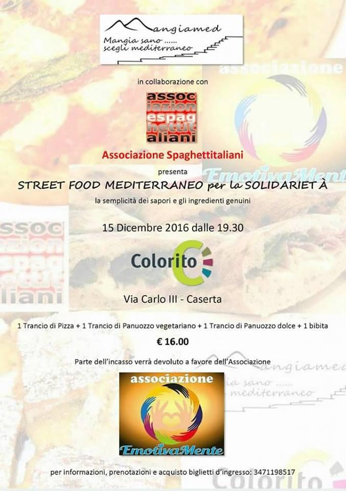 Da colorito con street food mediterraneo per la solidarietà
