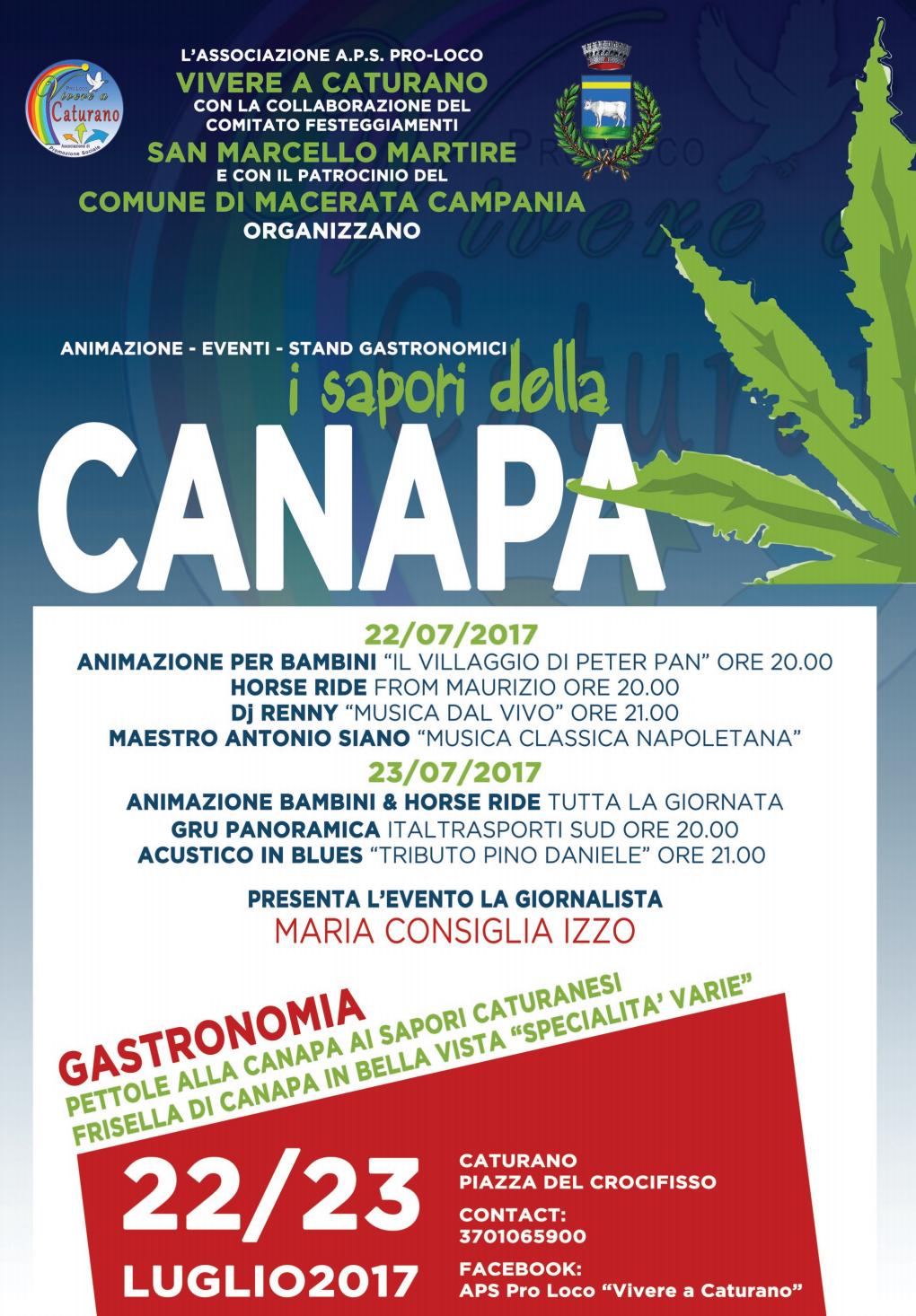 A Caturano due giorni dedicati ai Sapori della Canapa